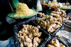 Whole and shredded fresh ginger Stock Images