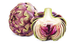 Whole and Slice artichoke isolated on the white background. Royalty Free Stock Photo