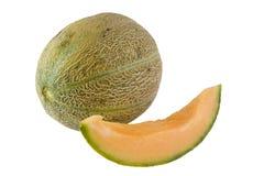Whole and slice of Australian rockmelon. Isolated on white background Royalty Free Stock Photo