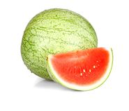 Whole and slice of ripe watermelon with water drops Stock Image