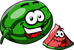A whole and a slice of smiling watermelon Royalty Free Stock Photo