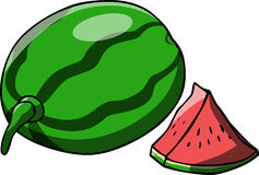 A whole and a slice of watermelon Stock Images