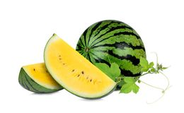 Whole and slice yellow watermelon with green leaf isolated. On white background royalty free stock image