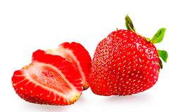 Whole and sliced ​​ripe strawberries Stock Images