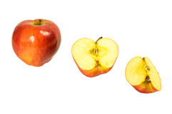 Whole and sliced apples Stock Images