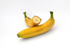 Whole and sliced banana isolated. On a white background Royalty Free Stock Photography
