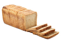 Whole sliced bread. Whole sliced toast bread on white background Royalty Free Stock Photo