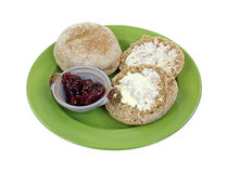 Whole Grain English Muffins Buttered Royalty Free Stock Photo