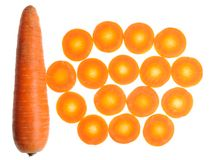 Whole and Sliced Carrots Royalty Free Stock Photography