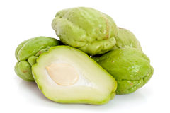 Whole and sliced Chayote Stock Photo