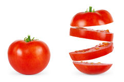 Whole and sliced fresh red tomatoes isolated on white background Royalty Free Stock Photos
