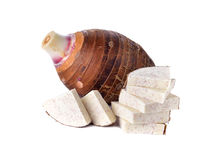 Whole and sliced fresh taro on white Royalty Free Stock Photography