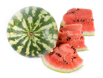 Whole and sliced fresh watermelon royalty free stock photos