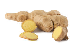Whole and sliced ginger root Royalty Free Stock Photography