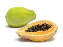 Whole and Sliced Healthy Papaya Fruit on White Royalty Free Stock Images