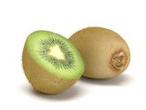 Whole and Sliced Kiwi Fruit on White Background Stock Images