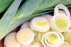 Whole and sliced leeks Royalty Free Stock Photo