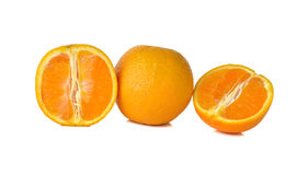 Whole and sliced orange on white Royalty Free Stock Images