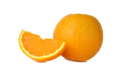 Whole and sliced orange on white Stock Photos