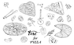 Whole and sliced  pizza, different vegetables and items for pizza. Hand drawn ink sketch. Slice of Pepperoni, Margarita,  Mushroom.  Perfect for leaflets vector illustration