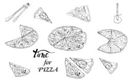 Whole and sliced  pizza and knife. Hand drawn ink sketch. Slice of Pepperoni, Margarita,  Mushroom.  Perfect for leaflets, cards, posters, prints, menu stock illustration