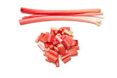 Whole and sliced rhubarb Royalty Free Stock Image