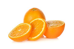 Whole and sliced ripe orange on white Royalty Free Stock Photography