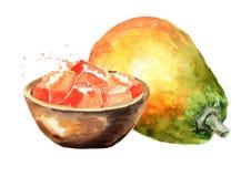Whole and sliced sweet ripe papaya fruit. Watercolor hand drawn illustration isolated on white background.  vector illustration