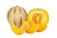 Whole and Slices of Galia Charentais Melons Stock Photos