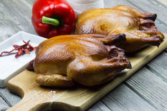 Whole smoked chicken. Grilled chicken. Thanksgiving menu. Stock Photos