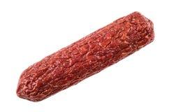Whole smoked sausage isolated on white Royalty Free Stock Photos
