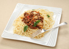 Whole spaghetti plate Royalty Free Stock Image