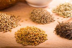 Whole spice piles Stock Photography