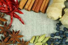 Whole spices frame. Frame of whole spices on flax background Royalty Free Stock Photography