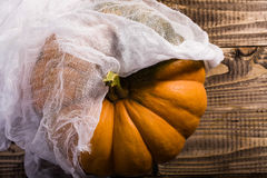 Whole squash with cheesecloth. Top view of big bright whole ripe round orange segmented squash with peduncle covered with white cheesecloth, horizontal photo Royalty Free Stock Images