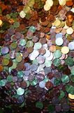 A packet of euro cent coins. A whole stack and packet of different euro cent coins royalty free stock images