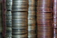 A packet of euro cent coins. A whole stack and packet of different euro cent coins royalty free stock photos