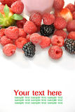 Whole strawberries, blackberries and raspberries Royalty Free Stock Image