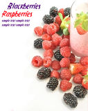 Whole strawberries, blackberries and raspberries Stock Photo