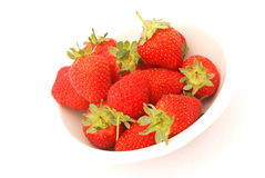 Whole Strawberries in Bowl Royalty Free Stock Photos