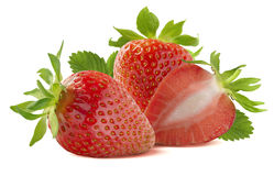 Whole strawberries and half  on white background Stock Image