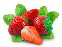 Whole strawberry and half Stock Photos