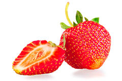 Whole strawberry and half Stock Photo