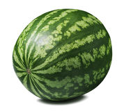 Whole striped round watermelon isolated on white background stock photos