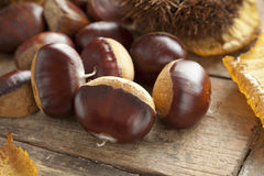 Whole sweet chestnuts Royalty Free Stock Image