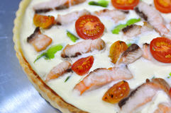Whole tasty quiche pie Royalty Free Stock Photo