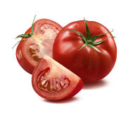 Whole tomato, half and quarter piece  on white backgroun Stock Photo