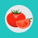 Whole tomato and half of tomato vector flat design Royalty Free Stock Images