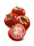 3 whole tomato and half  on white background Royalty Free Stock Photo