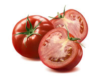 Whole tomato and two halves isolated on white background Royalty Free Stock Image